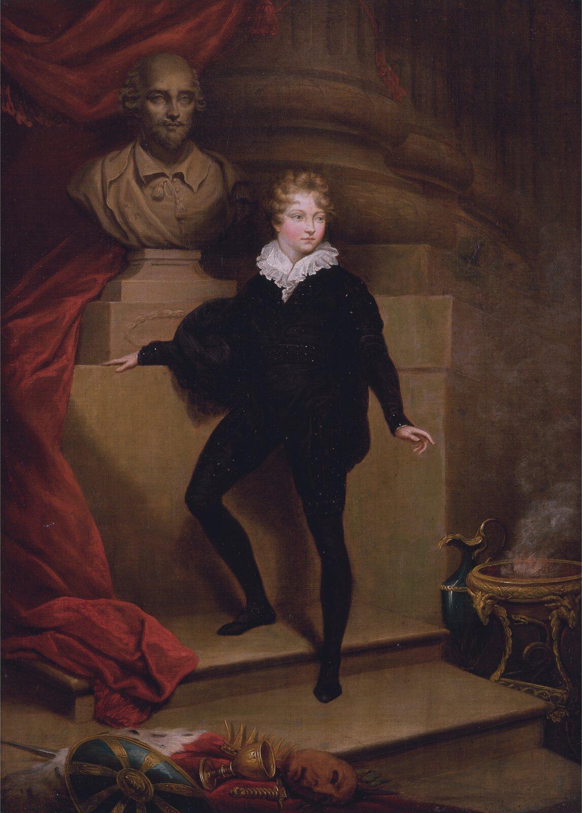Master Betty jako Hamlet przed popiersiem Shakespeare'a Źródło: James Northcote, Master Betty jako Hamlet przed popiersiem Shakespeare'a, ok. 1804–1806, olej na płótnie, Yale Center for British Art, licencja: CC 0 1.0.