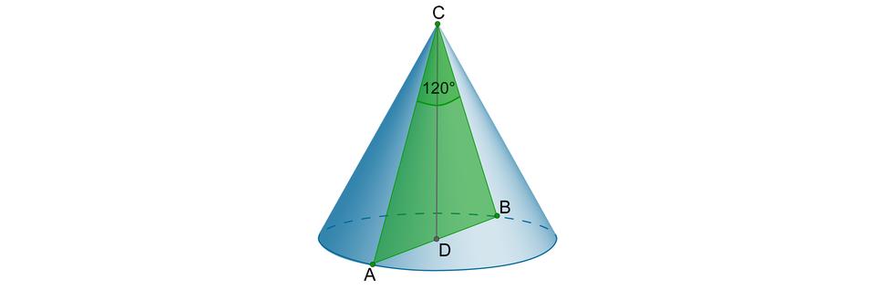 Rysunek stożka zzaznaczonym wewnątrz trójkątem równoramiennym ABC. Wierzchołki AiBsą końcami średnicy stożka, punkt Cjest wierzchołkiem stożka. Wtrójkącie kąt ACBma miarę 120 stopni. Poprowadzona wysokość trójkąta CD prostopadła do podstawy AB.