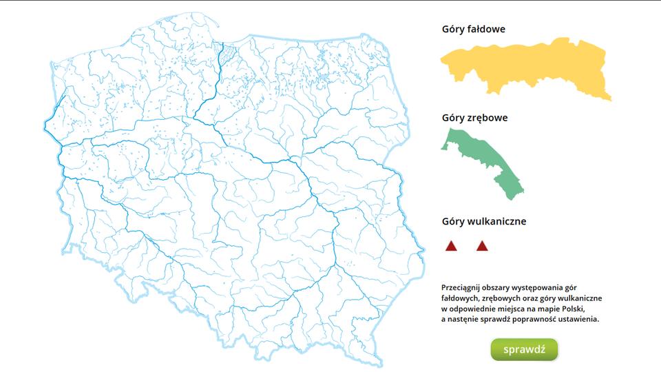Na ilustracji mapa konturowa Polski. Obok mapy kolorowe zasięgi iznaki do umieszczenia na mapie.