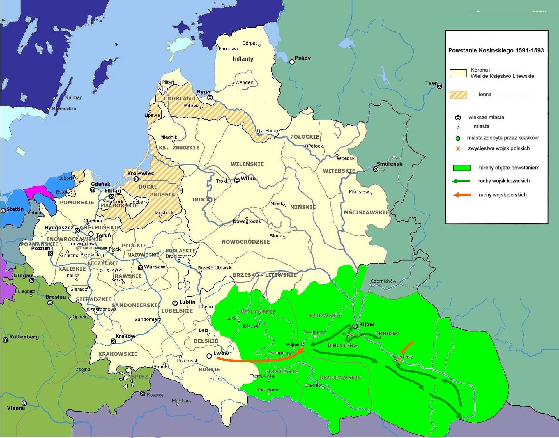 Powstanie Kosińskiego zlat 1591-1593. Powstanie Kosińskiego zlat 1591-1593. Źródło: Maciej Szczepańczyk, Wikimedia Commons, licencja: CC BY-SA 3.0.