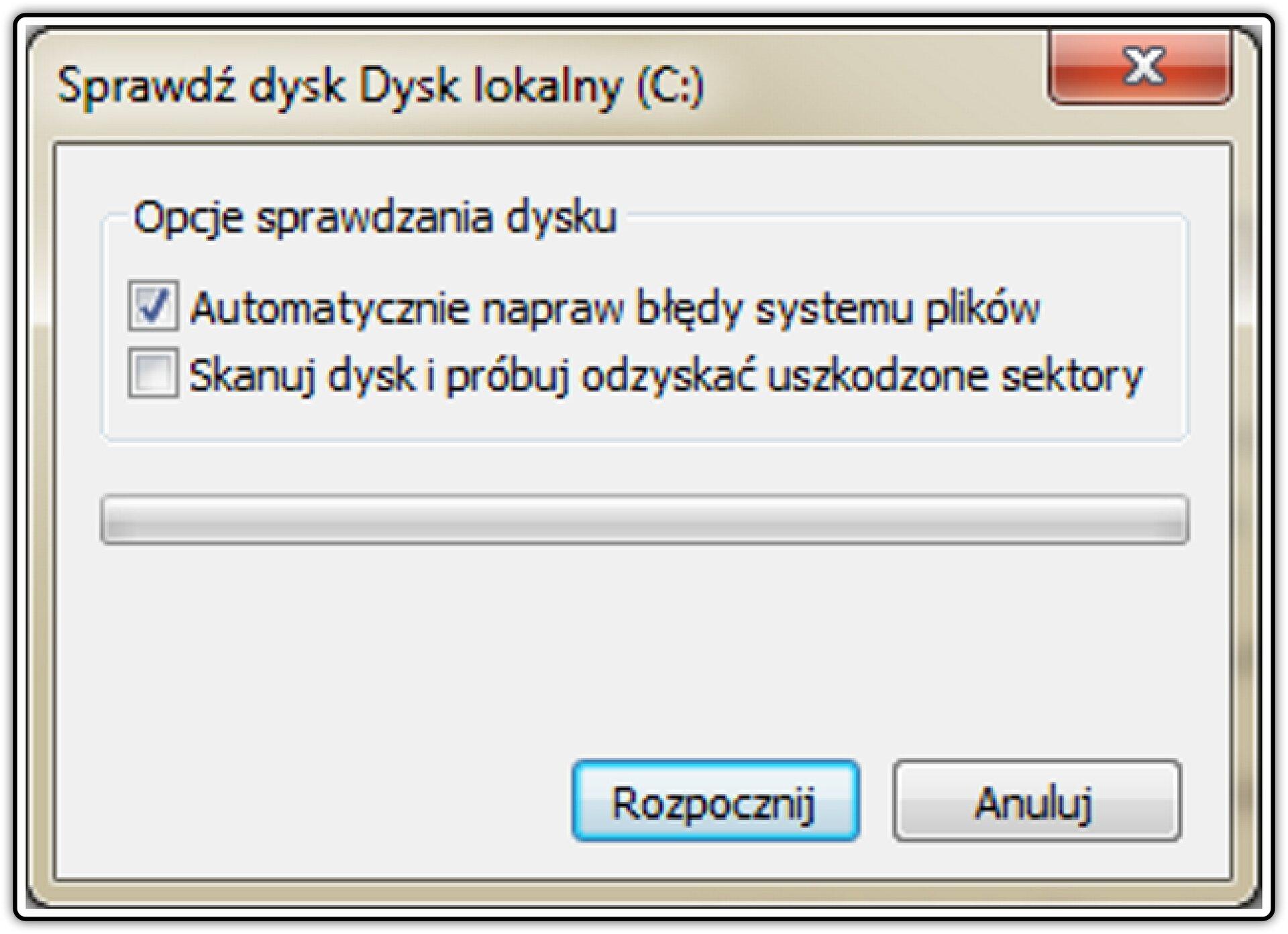 Zrzut okna: Sprawdź dysk wsystemie operacyjnym Windows