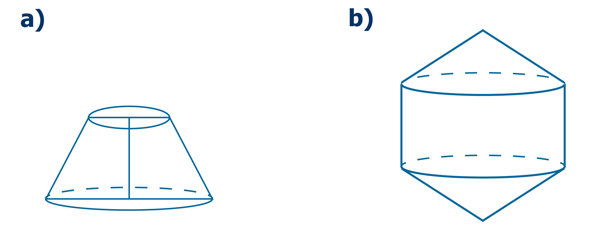 Rysunki dwóch brył obrotowych. Pierwsza bryła to stożek ścięty. Druga bryła to dwa stożki ścięte połączone podstawami. Rozwiązanie zadania.