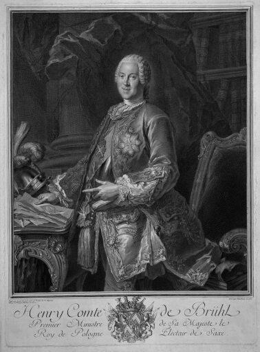 Portret Henryka Brühla Portret Henryka Brühla Źródło: Jean-Joseph Balechou, Louis de Silvestre, 1750, domena publiczna.