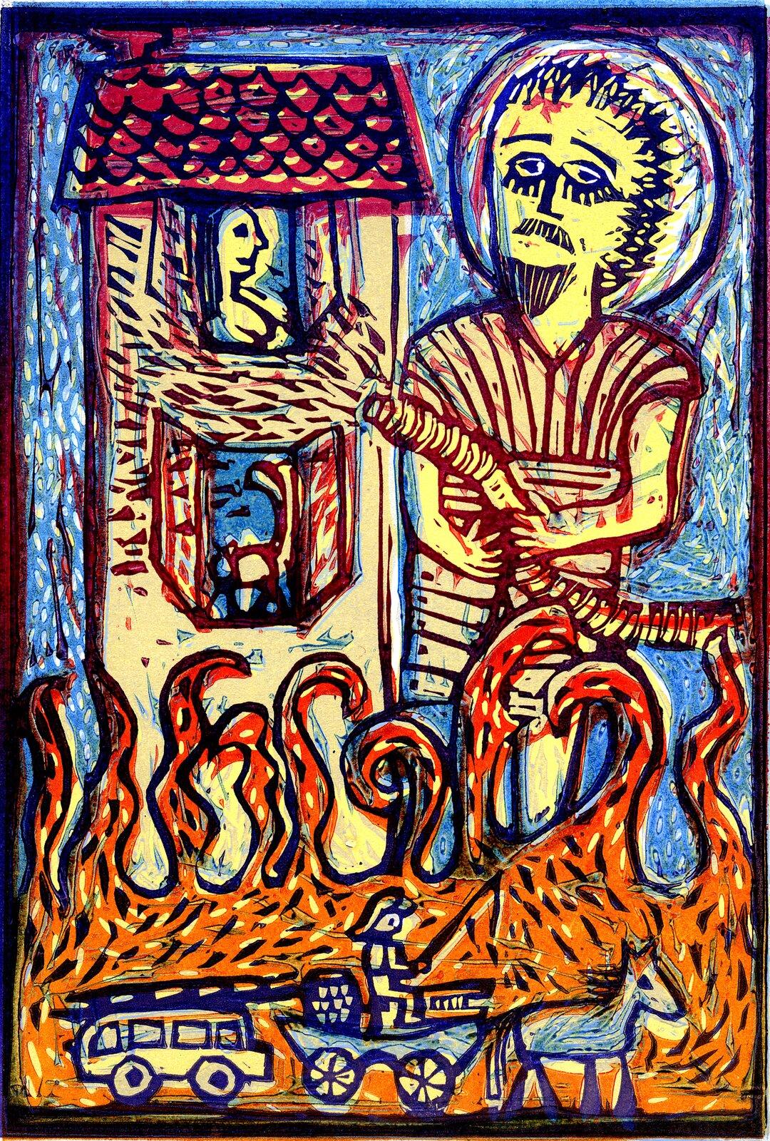 Ilustracja przedstawia linoryt Joanny Frydrychowicz-Janiak, który ukazuje świętego Floriana. Święty został przedstawiony jako współczesny strażak gaszący pożar. Po lewej stronie stoi dwupiętrowy dom zotwartymi oknami iciemnoczerwonym dachem. Florian gasi palący się dom. Udołu widać pomarańczowe płomienie, na tle których ukazany jest gaśniczy wóz konny prowadzony przez strażaka isamochód gaśniczy.