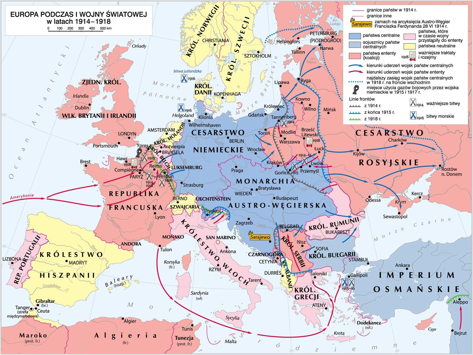 mapaEuropy wlatach 1914–1918