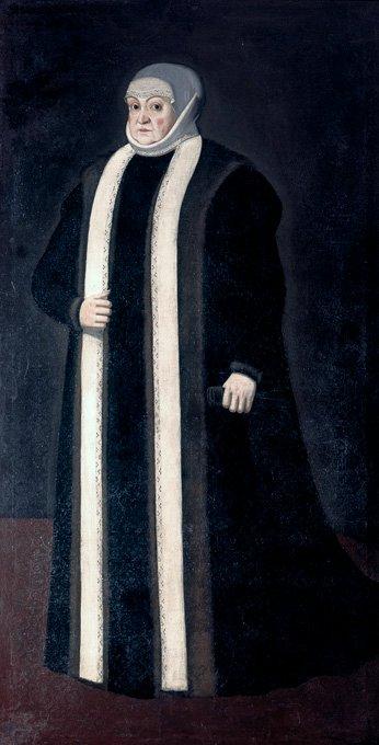 Portret Bony Sforzy PortretBony Sforzy wstroju wdowy. Malarz nieznany, ok. 1557; obecnie obraz prezentowany jest na Zamku Królewskim wWarszawie. Źródło: Portret Bony Sforzy, ok. 1557, olej na płótnie, Zamek Królewski wWarszawie, domena publiczna.