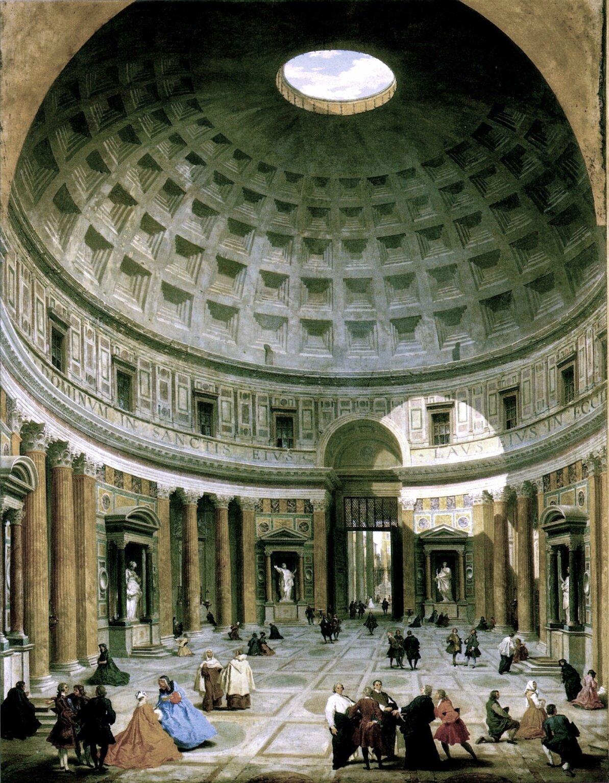 Panteon – świątynia zbudowana wII wieku n.e. wstarożytnym Rzymie. WXV wieku stała się wzorem dla renesansowych architektów Panteon – świątynia zbudowana wII wieku n.e. wstarożytnym Rzymie. WXV wieku stała się wzorem dla renesansowych architektów Źródło: Giovanni Paolo Panini, ok. 1734, domena publiczna.
