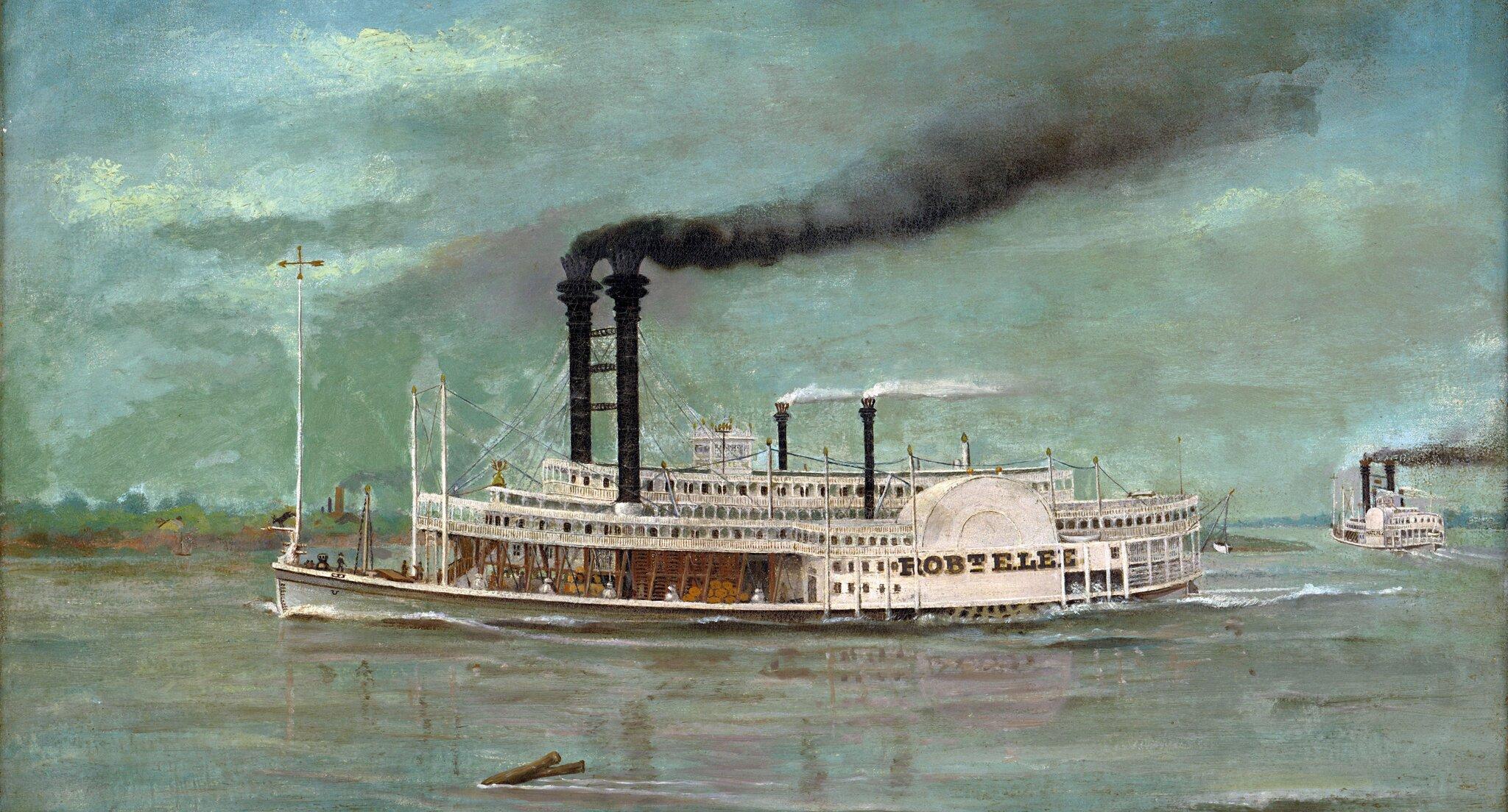 Statek parowy Źródło: Robert E. Lee, Statek parowy, 1884, domena publiczna.
