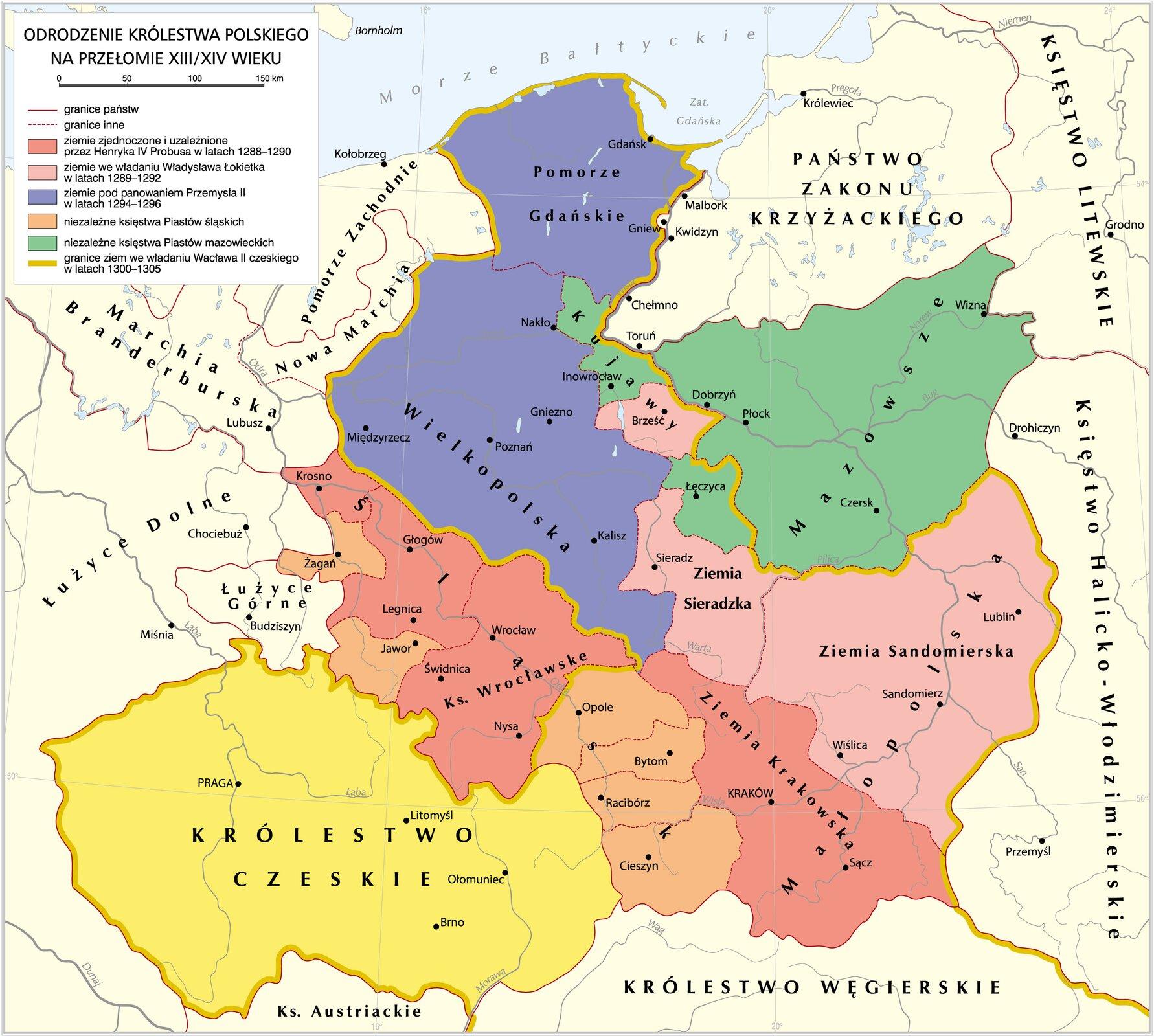 mapaOdrodzenie Królestwa Polskiego XIII-XIV wiek