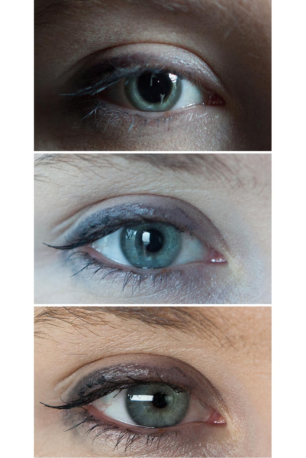 Trzy fotografie przedstawiają zbliżenia oka wróżnym oświetleniu. Ugóry wsłabym świetle źrenica jest mocno poszerzona, atęczówka zwężona. Środkowe zdjęcie przedstawia oko wnormalnym oświetleniu. Źrenica jest okrągła, średniej wielkości. Udołu wostrym świetle źrenica jest mocno zwężona, atęczówka poszerzona.
