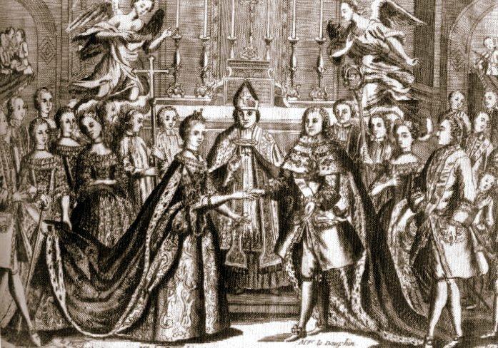 Ślub Ludwika XVI iMarii Antoniny Źródło: Ślub Ludwika XVI iMarii Antoniny, domena publiczna.