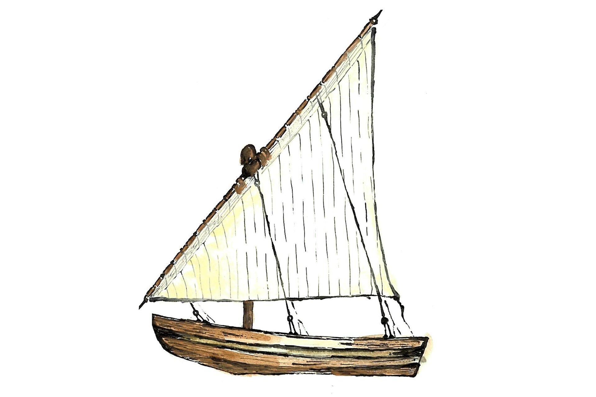 Rysunek egipskiej żaglówki.