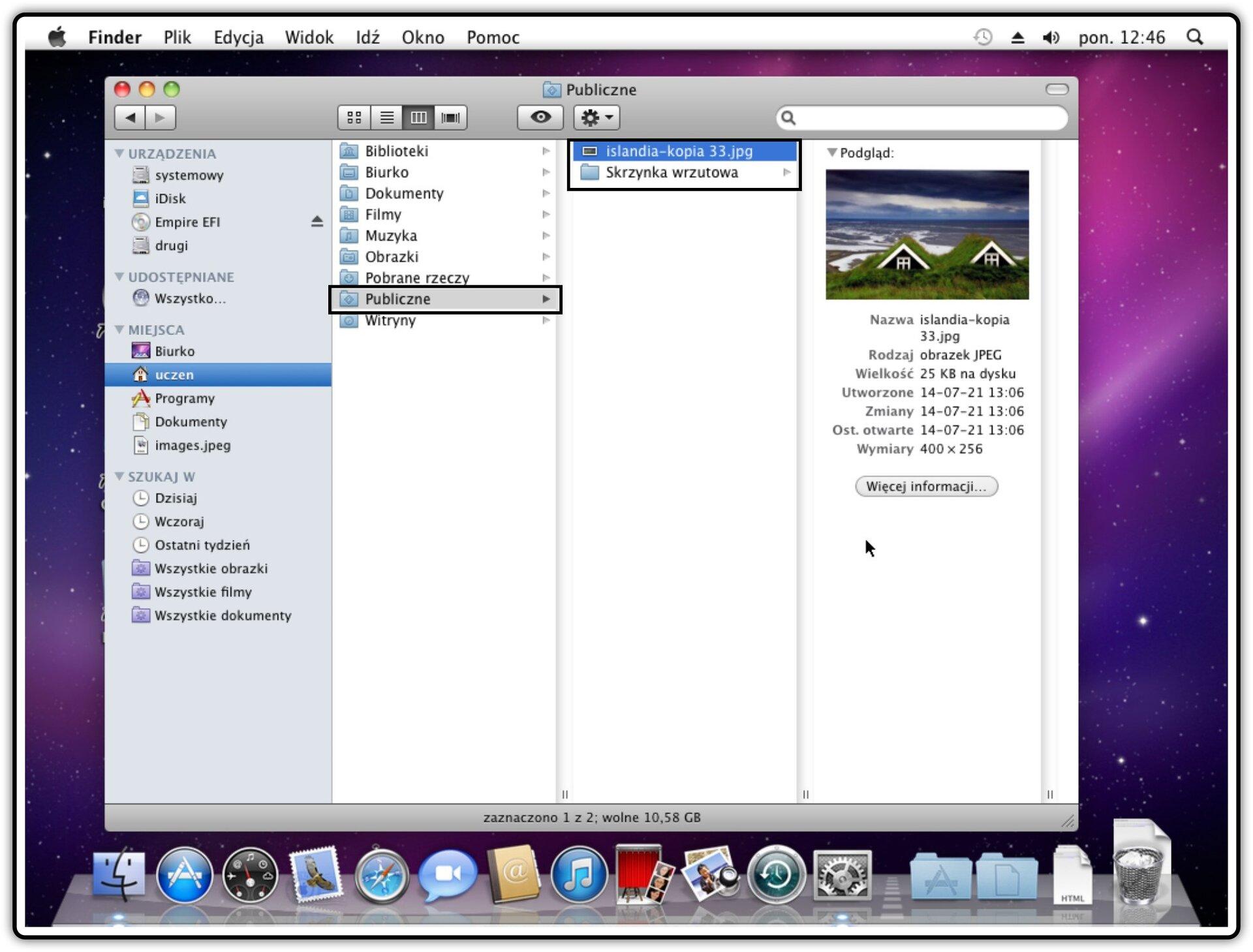 Ilustracja przedstawiajaca: Krok 9 udostępniania plików wsystemie Mac OS X