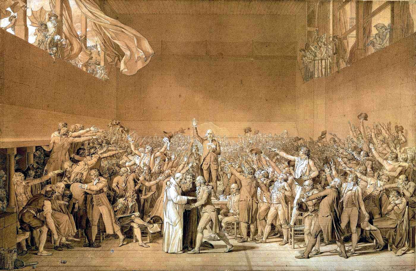 Obrazprzedstawia dużą grupę ludzi zebranych wjednym pomieszczeniu. Są toparlamentarzyści (deputowani), którzy maja wyciągnięte ręce na dowód składanej przysięgi. Przy stoliku umieszczonym wcentralnej części obrazu artysta przedstawił postać księdza.