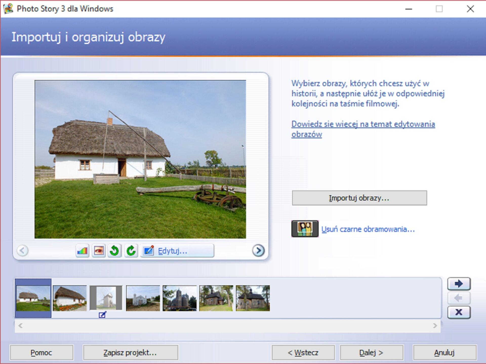 Zrzut okna: Importuj iorganizuj obrazy wprogramie Photo Story 3 dla Windows
