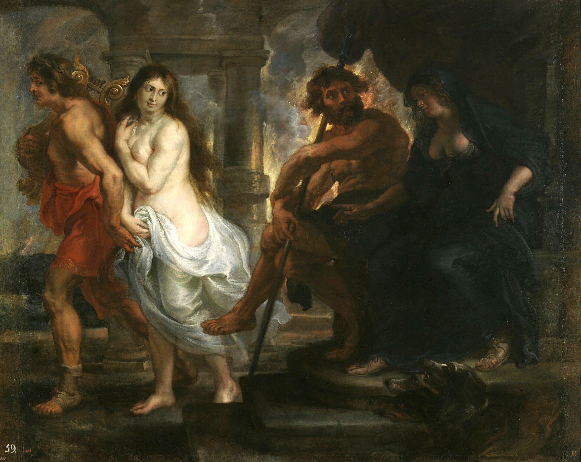 """Ilustracja przedstawia obraz Petera Paula Rubensa pt. """"Orfeusz iEurydyka"""". Jest to scena ukazująca odzyskanie żony przez Orfeusza. Właśnie wychodzi zHadesu, Eurydyka jest tuż za nim. Jest przepasany czerwoną szatą. Na ramieniu niesie lirę. Eurydyka ma ciemne długie włosy. Prawą ręką podtrzymuje zwiewną białą suknię zakrywającą dolne partie ciała. Orfeusz ukradkiem spogląda na żonę; trzyma ją za rękę śpiesząc do wyjścia. Eurydyka ogląda się na Persefonę, która zasiada zmałżonkiem na kamiennym tronie. Ubrana jest wczarną długą suknię. Półnagi Pluton odwrócony jest wjej stronę. Na odchodzącą parę patrzy Cerber, trójgłowy strażnik podziemi, ukazany udołu obok tronu."""