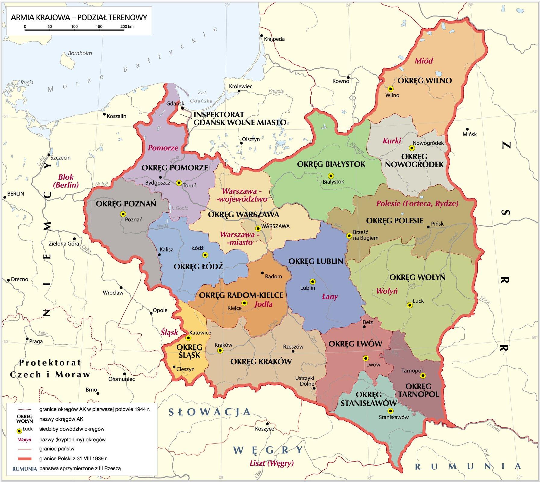 Armia Krajowa - podział terenowy Armia Krajowa - podział terenowy Źródło: Krystian Chariza izespół, licencja: CC BY-SA 4.0.