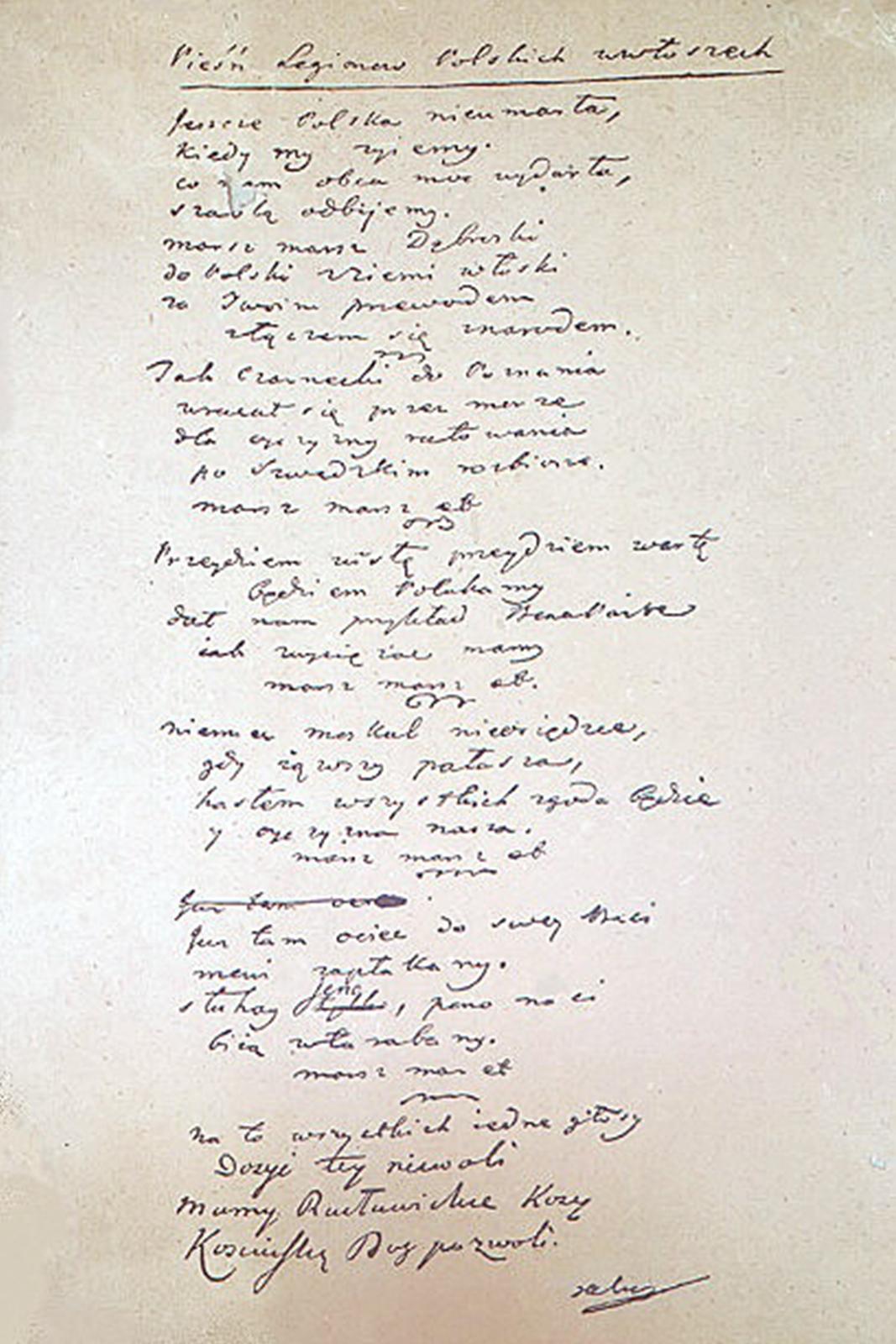 Zdjęcie przedstawia oryginalny tekst Hymnu Polski.