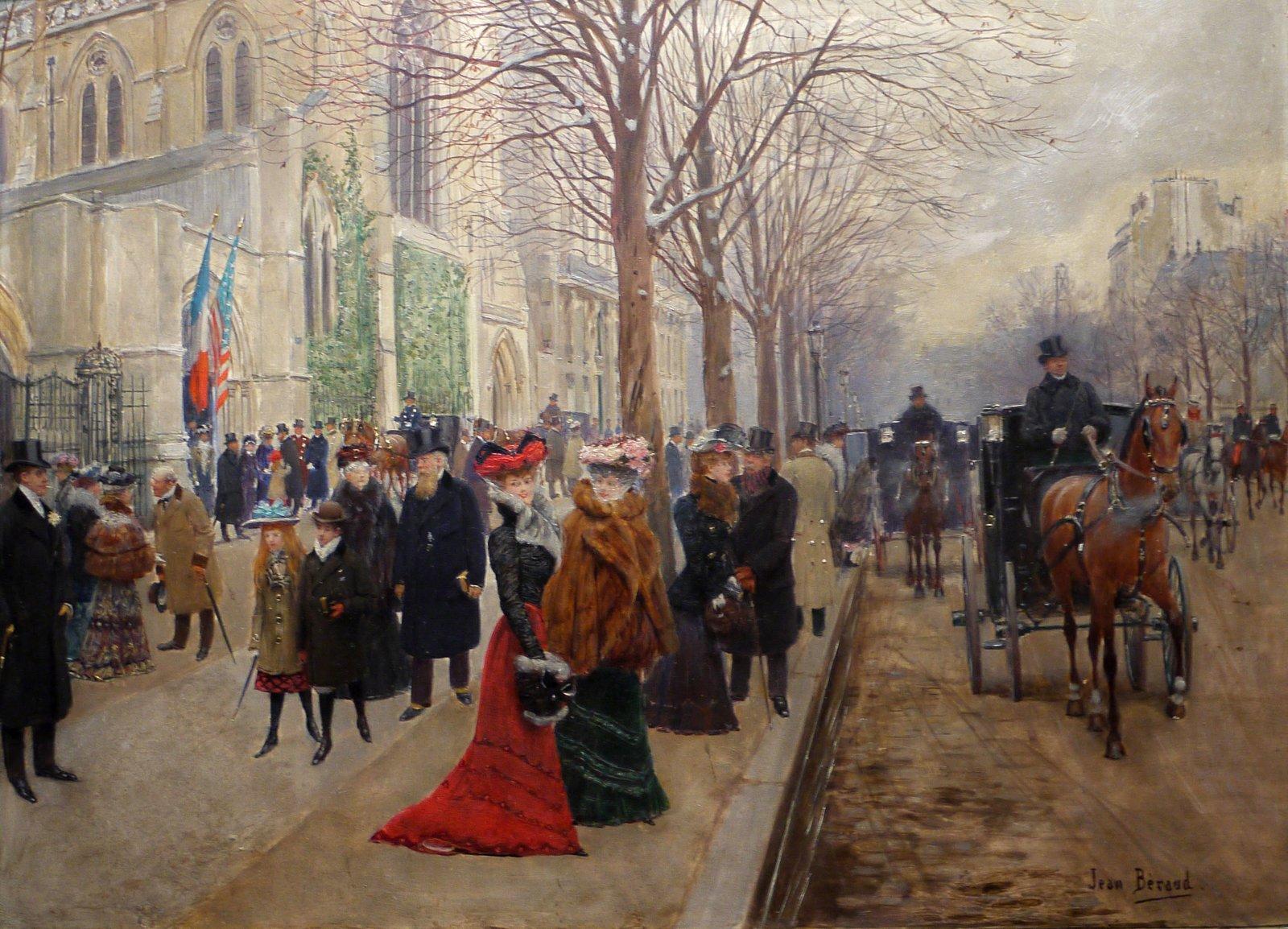 Po nabożeństwie wkościele Świętej Trójcy Źródło: Jean Béraud, Po nabożeństwie wkościele Świętej Trójcy, 1900, Musée Carnavalet, domena publiczna.
