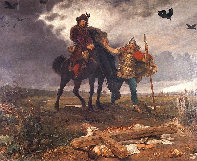 Obraz przedstawiaKazimierza Odnowiciela wracającego do Polski.