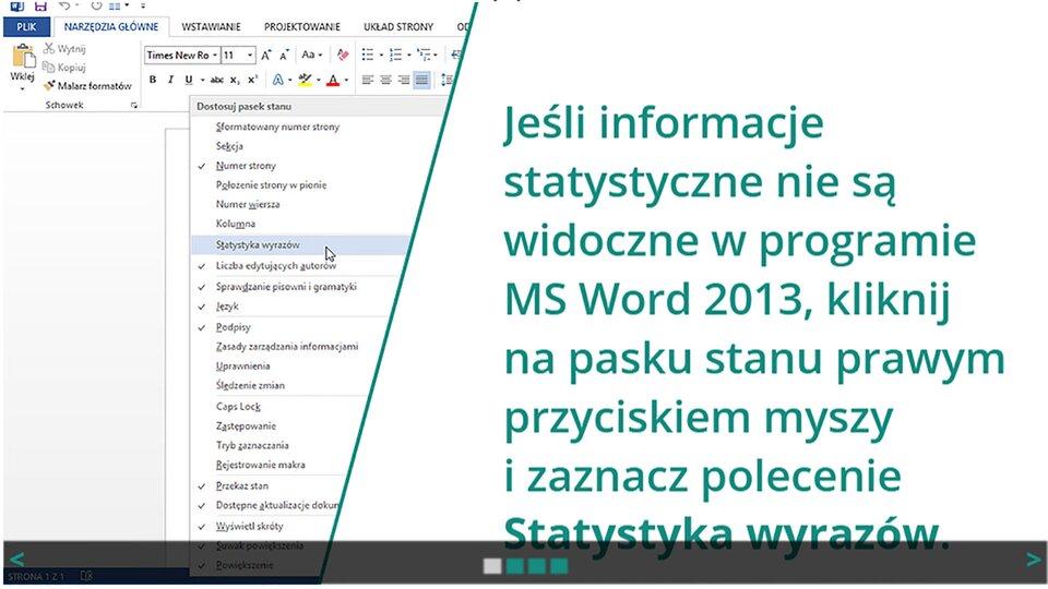 Animacja: Statystyka wyrazów wprogramie Ms Word