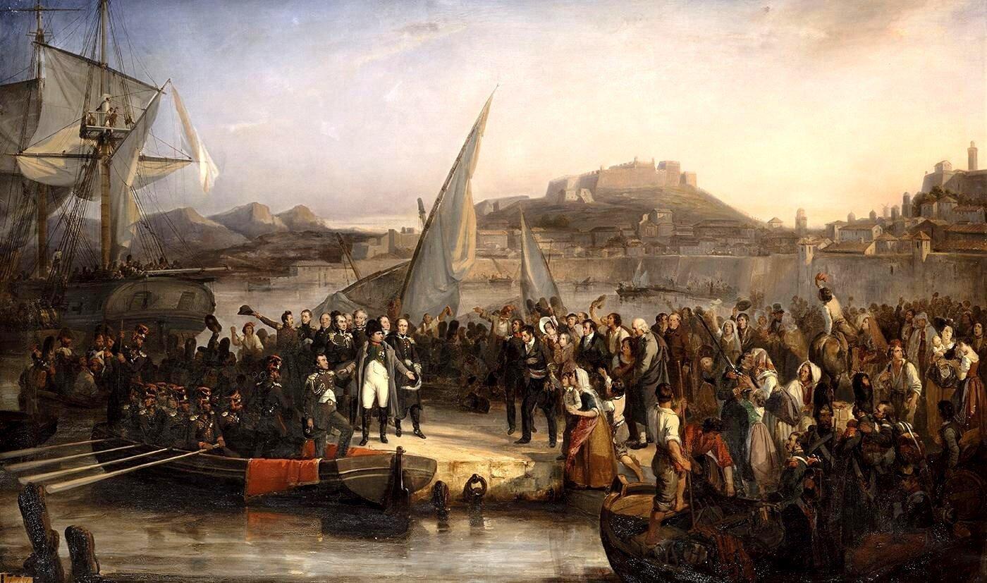 Na obrazie przedstawiono grupę ludzi nad brzegiem morza. Na morzu, po lewej stronie obrazu znajduje się statek. Na brzegu znajduje się łódka do której będzie wsiadał mężczyzna. Wtle widać zamek.