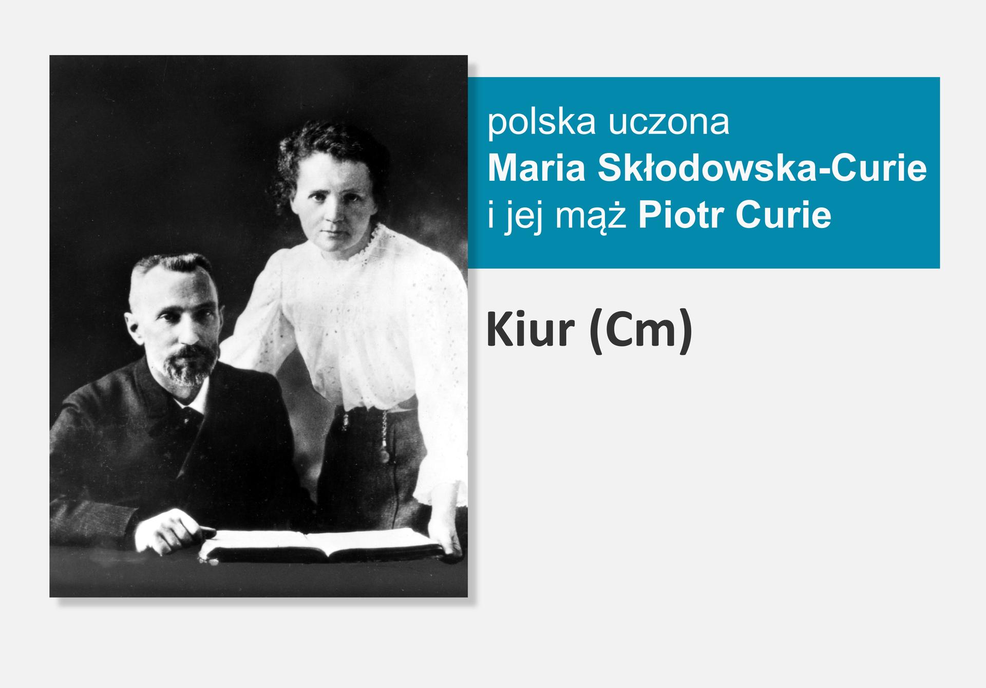 Fotografia polskiej uczonej Marii Skłodowskiej-Curie ijej męża Piotra Curie, obok nazwa isymbol pierwiastka Kiur (Cm)