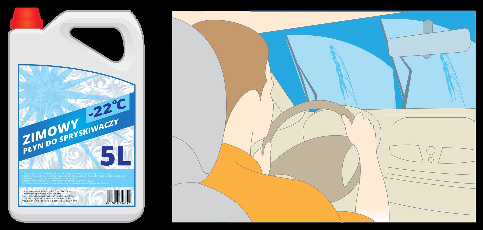 Ilustracja podwójna. Zlewej strony prezentowane jest przykładowe, pięciolitrowe opakowanie zimowego płynu do spryskiwaczy, którego etykieta informuje omożliwości stosowania go wtemperaturze -22 stopnie Celsjusza. Zprawej strony narysowane wnętrze samochodu zkierowcą oglądane zperspektywy pasażera na tylnym siedzeniu. Wycieraczki samochodu pracują, na szybach widać ślady spryskiwacza oraz odgarnianego śniegu.
