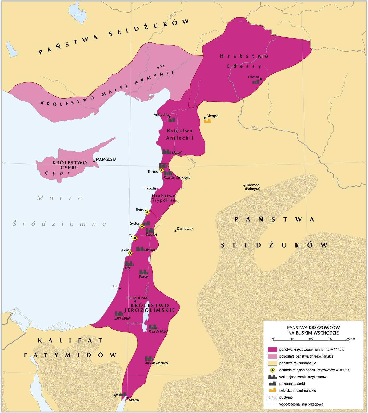 mapa - Państwa krzyżowców na Bliskim Wschodzie