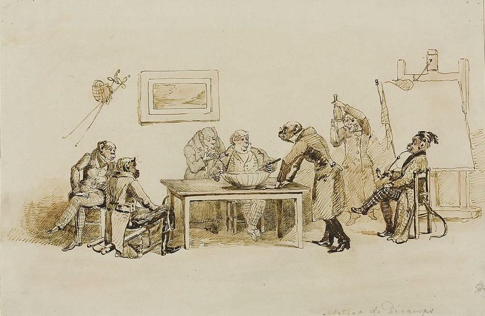 Małpy wpracowni malarskiej Źródło: Jean Ignace Isidore Gérard, Małpy wpracowni malarskiej, ok. 1832, atrament, tusz, sangwina na papierze, Muzeum Narodowe wWarszawie, domena publiczna.