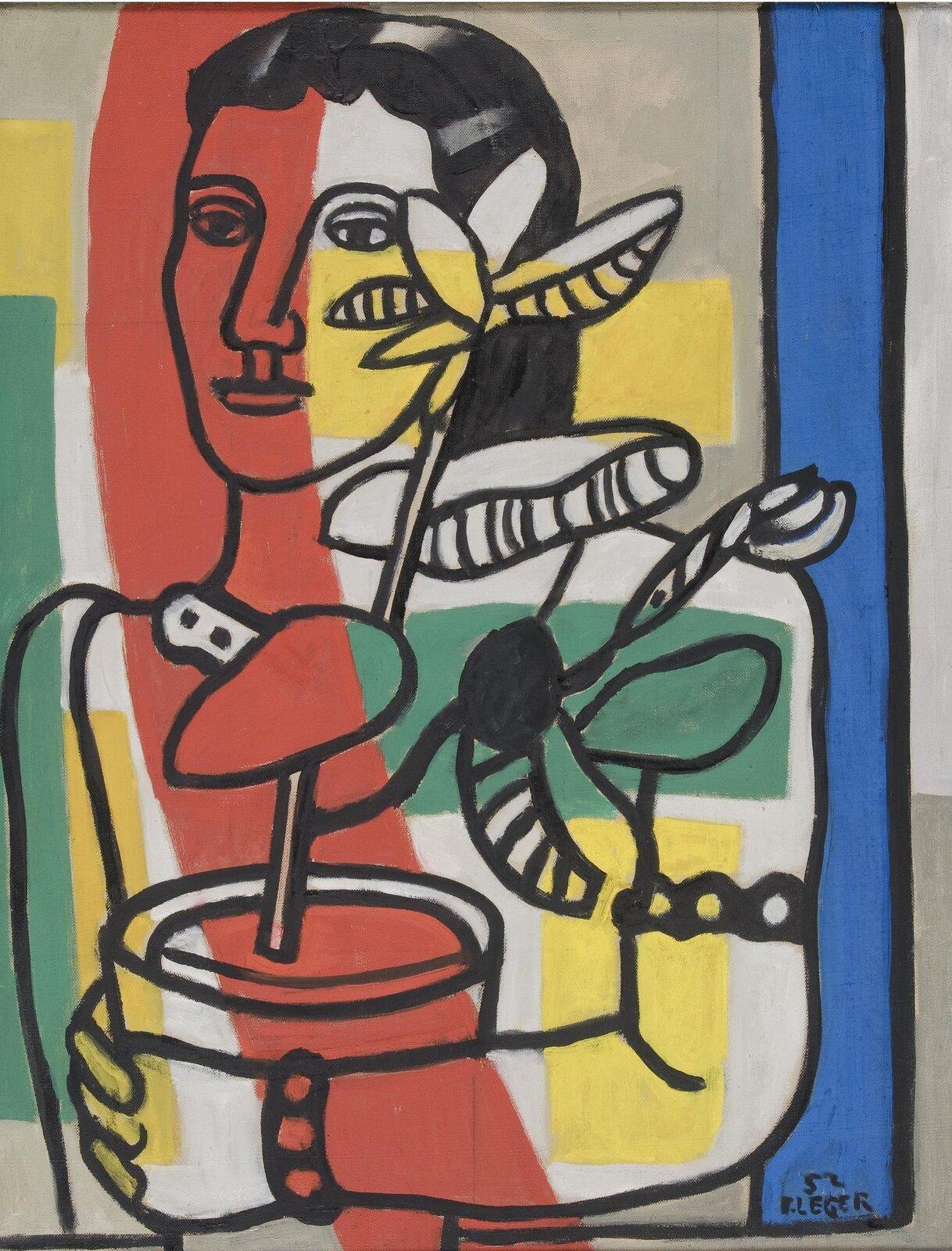 """Ilustracja przedstawia obraz Josepha Fernanda Henriego Légera """"Kobieta zkwiatem"""". Ukazuje namalowaną czarnym konturem kobietę trzymającą zrękach donicę zkwiatem. Przez postać ikwiat przebijają kolory tła, namalowane czystymi kolorami pionowych ipoziomych pasów: czerwonego, zielonych, niebieskiego iżółtych."""