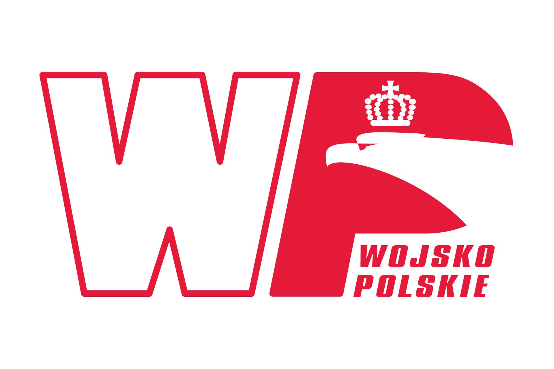 Ilustracja przedstawia biało-czerwone logo Wojska Polskiego. Logo to dwie litery. Po lewej litera W, po prawej litera P. Litera po lewej to biała litera zczerwoną obwódką. Litera Pwkolorze czerwonym. Wczęści zaokrąglonej litery Pszyja igłowa orła białego. Na głowie orła korona. Orzeł zwrócony wlewo. Poniżej czerwony napis Wojsko Polskie. Wyraz wojsko nad wyrazem polskie.