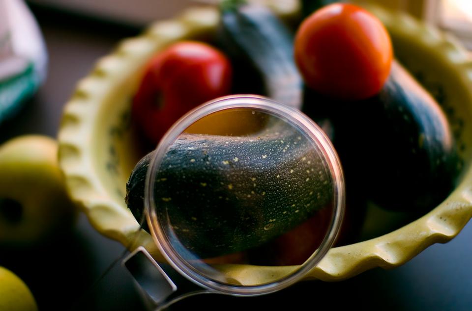 Galeria prezentuj różne przyrządy optyczne. Fotografia prezentująca lupę przez, którą powiększane są warzywa leżące naczyniu.