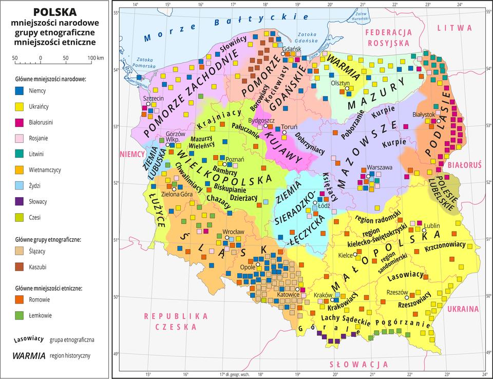 Ilustracja przedstawia mapę Polski zpodziałem na województwa. Na mapie oznaczono iopisano miasta wojewódzkie. Na mapie za pomocą kolorów przedstawiono regiony historyczne, które opisano. Za pomocą kolorowych sygnatur przedstawiono występowanie mniejszości narodowych igrup etnograficznych. Opisano nazwy grup etnograficznych. Główne mniejszości narodowe: Niemcy, Ukraińcy, Białorusini, Rosjanie, Litwini, Wietnamczycy, Żydzi, Słowacy, Czesi.Główne grupy etniczne: Ślązacy, Kaszubi, Romowie, Łemkowie. Dookoła mapy wbiałej ramce opisano współrzędne geograficzne co jeden stopień. Wlegendzie mapy objaśniono kolory użyte na mapie.