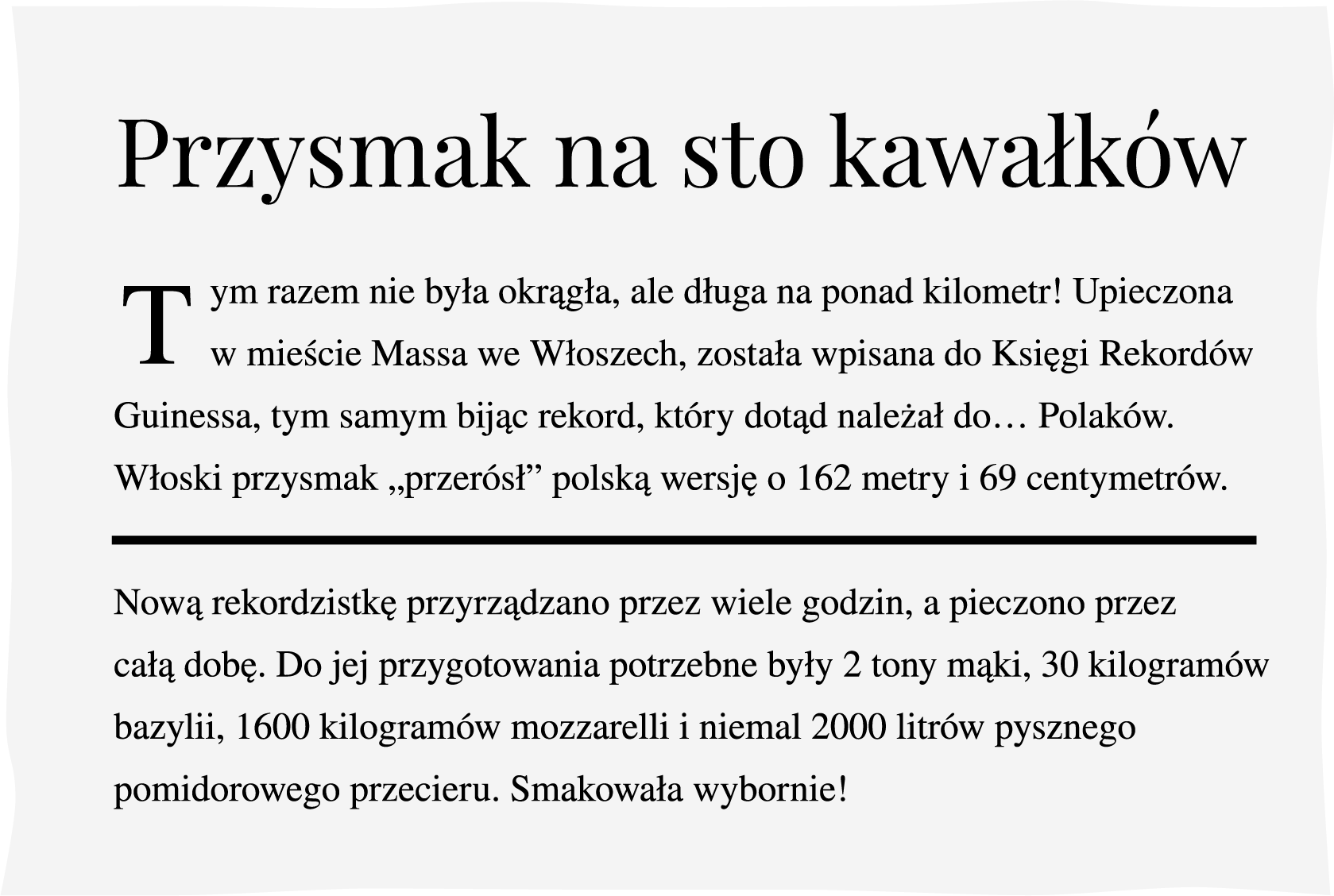 Wycinek zgazety na temat rekordowej pizzy Źródło: Contentplus.pl sp. zo.o., licencja: CC BY 3.0.