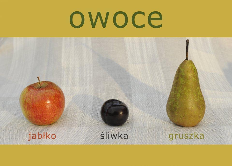 Fotografia przedstawiająca owoce zpodpisami itytułem