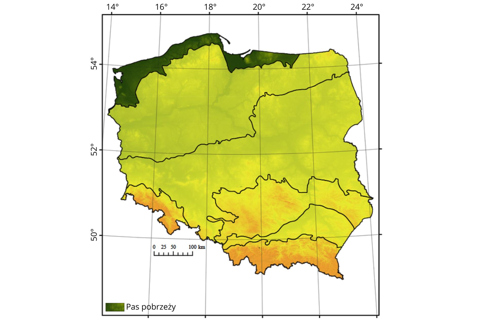 Grafika przedstawia mapę Polski, na której oznaczono pasy geomorfologiczne. Kolorem zielonym oznaczono pas, który położony jest wzdłuż polskiegowybrzeżaBałtyku igranicy zRosją (Obwód Kaliningradzki). Ciągnie się od Zatoki Kilońskiej po Kanał Mazurski.