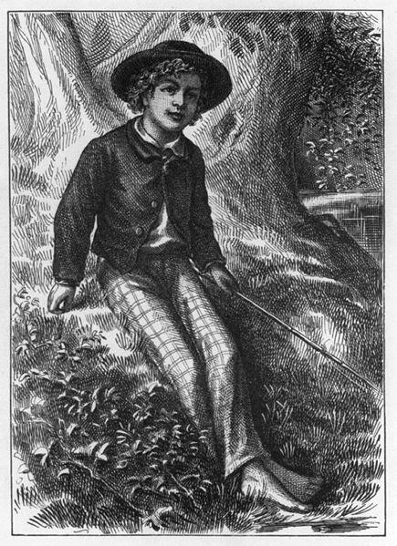 Czarno biały rysunek. Chłopiec wkapeluszu zrondem siedzi pod drzewem. Ma kręcone włosy, kurtkę,jasne spodnie wkratkę igołe nogi. Wreku trzyma patyk.