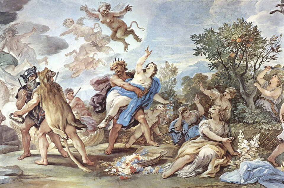 Porwanie Prozerpiny (gr. Persefony) Źródło: Luca Giordano, Porwanie Prozerpiny (gr. Persefony), 1684–1686, fresk, Palazzo Medici-Riccardi, Florencja, domena publiczna.