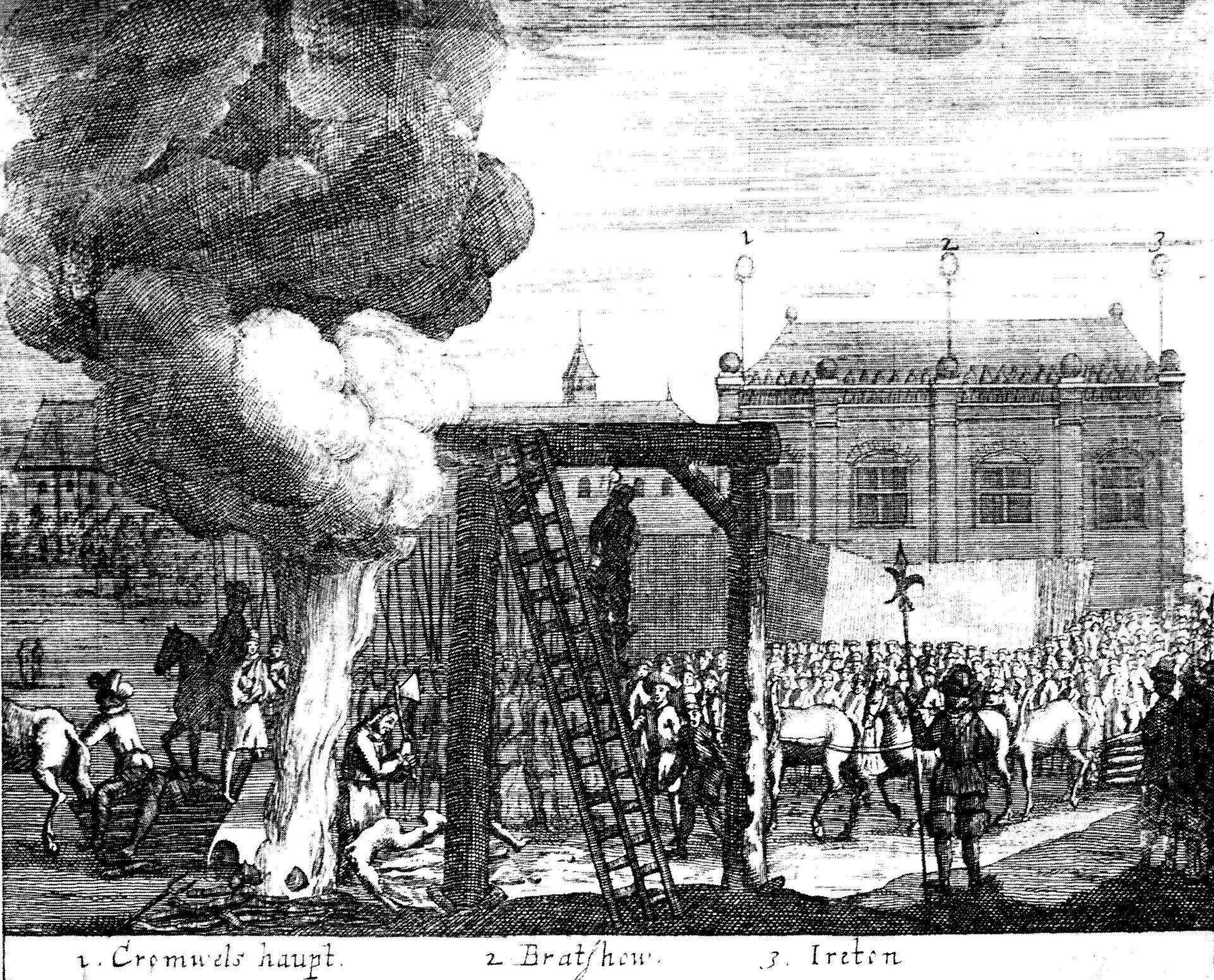 """Symboliczna egzekucja Cromwella w1661 r. – pod płonącym stosem napis """"głowa Cromwella"""" Symboliczna egzekucja Cromwella w1661 r. – pod płonącym stosem napis """"głowa Cromwella"""" Źródło: domena publiczna."""