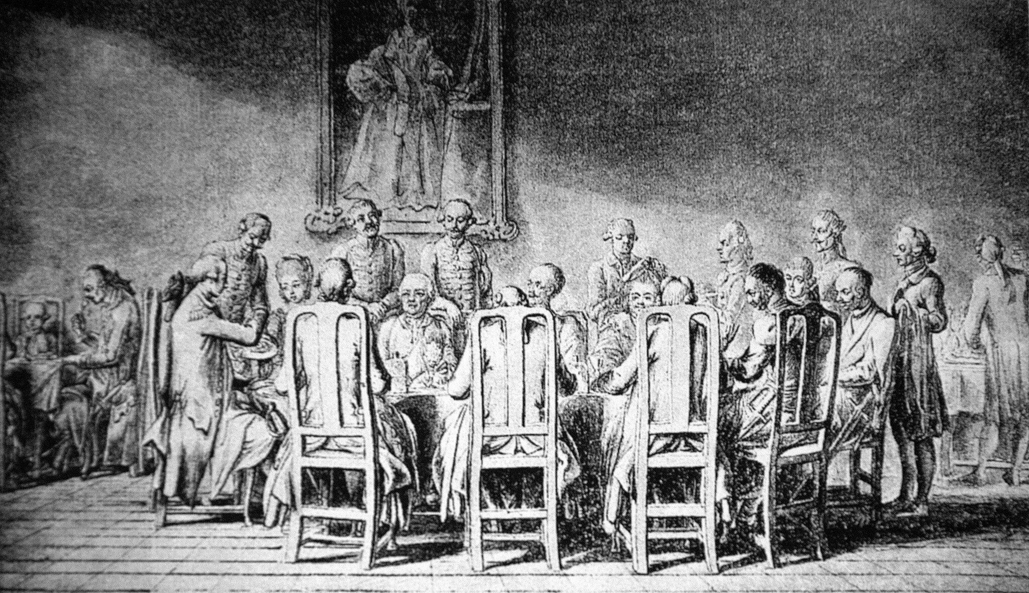 Uczta uksięcia Prymasa Źródło: Daniel Chodowiecki, Uczta uksięcia Prymasa, XVIII wiek, domena publiczna.