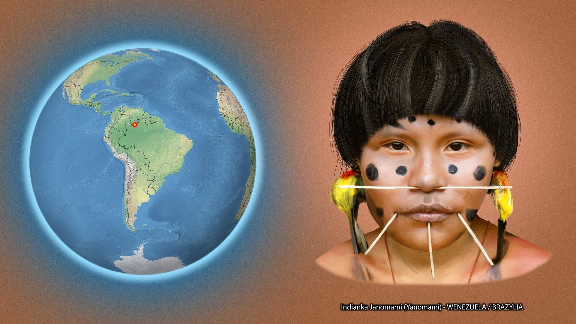 Na ilustracji kula ziemska zzaznaczonym czerwonym punktem na granicy Wenezueli iBrazylii. Obok twarz kobiety, krótkie ciemne włosy, na twarzy czarne kropki, nos ibroda przebite patyczkami, wuszach ozdoby zpiór. Podpis – Indianka Janomoami – Wenezuela/Brazylia