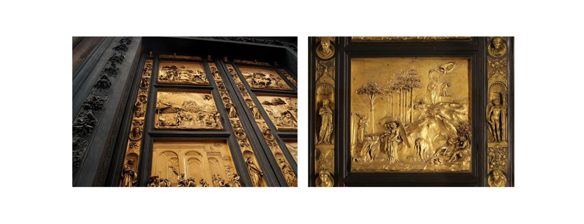"""Zdjęcie przedstawia dwa fragmenty """"Drzwi Raju"""" (Porta del Paradiso) Lorenza Ghibertiego, wykonanych wlatach 1425-1450: pierwszy ukazuje fragment drzwi podzielony na kwatery, drugi - jedną zkwater. Drzwi wykonane zostały techniką odlewu isą przykładem rzeźby reliefowej. Wykonano zbrązu, anastępnie pozłocono."""
