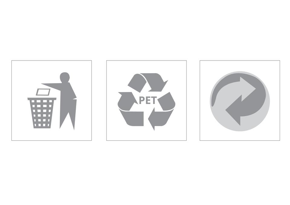 Ilustracja prezentuje trzy przykładowe symbole proekologiczne, którymi są oznaczone używane przez nas na codzień produkty.