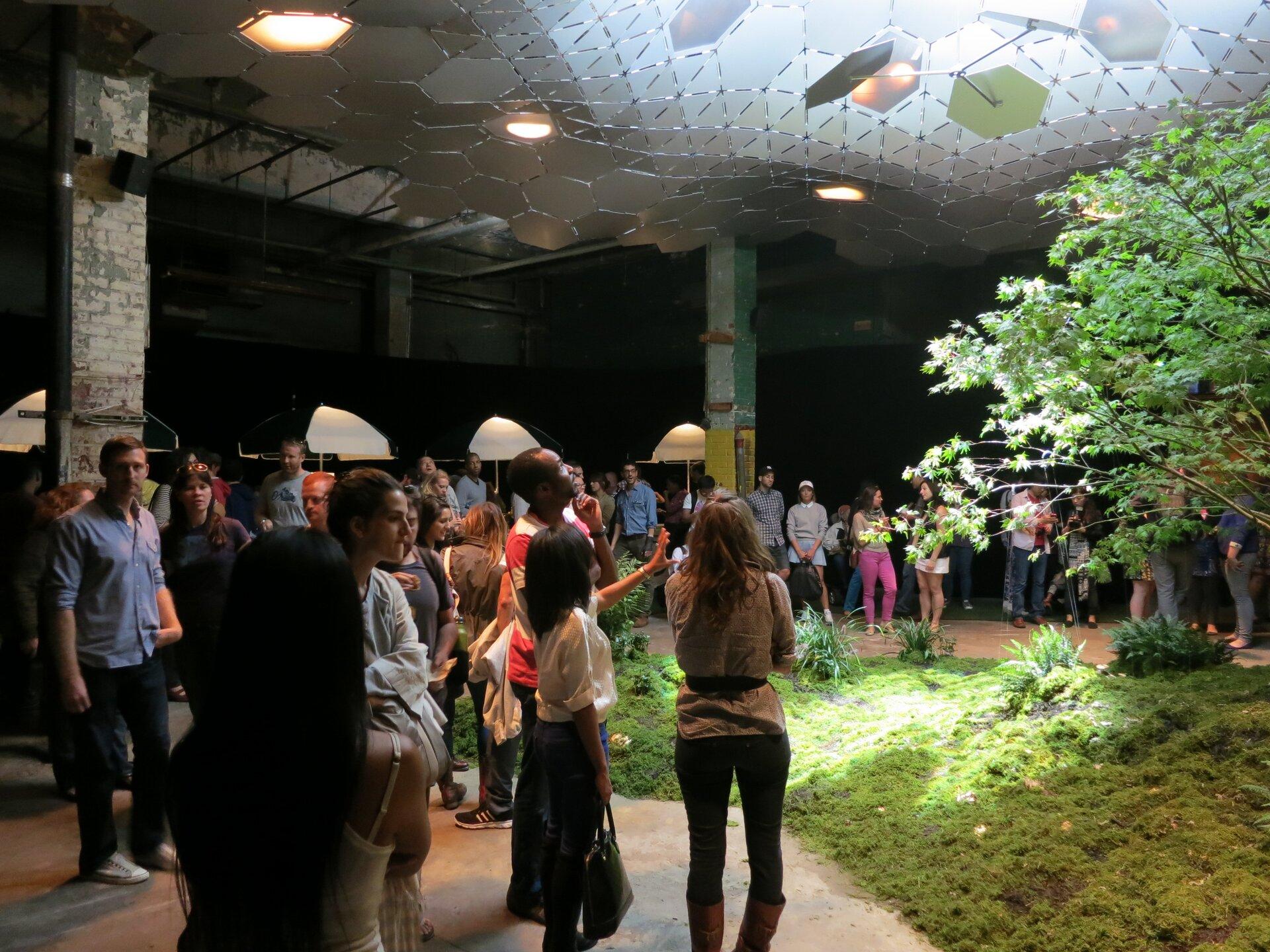 Ilustracja przedstawia widok na podziemny park wNowym Jorku. Zdjęcie przedstawia wnętrze budynku wyglądającego na starą halę. Widać kolumny, asufit wyłożony jest małymi sześciokątami między którymi zamontowano światło. Podłoże to trawa iwidoczne po prawej stronie fragment drzewa.