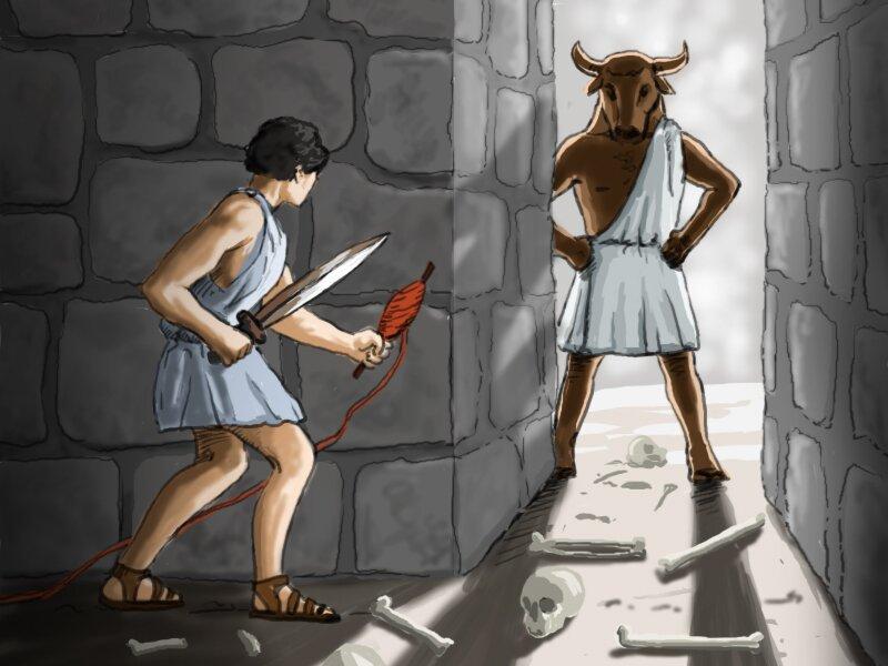 Ilustracja przedstawiająca mitycznego bohatera Tezeusza przy wejściu do labiryntu wraz zpotworem Minotaurem Ilustracja przedstawiająca mitycznego bohatera Tezeusza przy wejściu do labiryntu wraz zpotworem Minotaurem Źródło: Scholaris.pl.
