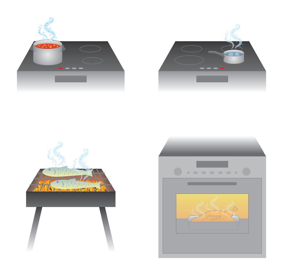 Na ilustracji zaprezentowano różne sposoby przygotowywania potraw: podgrzewanie na wolnym ogniu, gotowanie we wrzącej wodzie, grillowanie ipieczenie wpiekarniku.