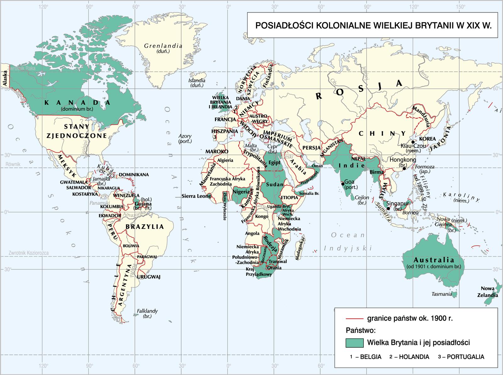 Posiadłości kolonialne Wielkiej Brytanii Źródło: Contentplus.pl sp. zo.o., Posiadłości kolonialne Wielkiej Brytanii, licencja: CC BY 3.0.