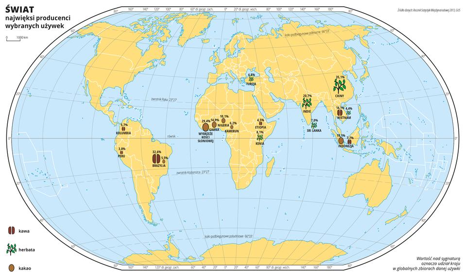 Ilustracja przedstawia mapę świata. Wody zaznaczono kolorem niebieskim. Na mapie za pomocą sygnatur zaznaczono największych producentów używek: kawy, herbaty ikakao. Nad sygnaturami zapisano liczbę oznaczającą udział kraju wglobalnych zbiorach danej używki.Największa ilość sygnatur znajduje się na obszarach położonych wzdłuż równika iwpołudniowych Indiach iChinach. Mapa pokryta jest równoleżnikami ipołudnikami. Dookoła mapy wbiałej ramce opisano współrzędne geograficzne co dwadzieścia stopni.Po lewej stronie mapy opisano znaki użyte na mapie.