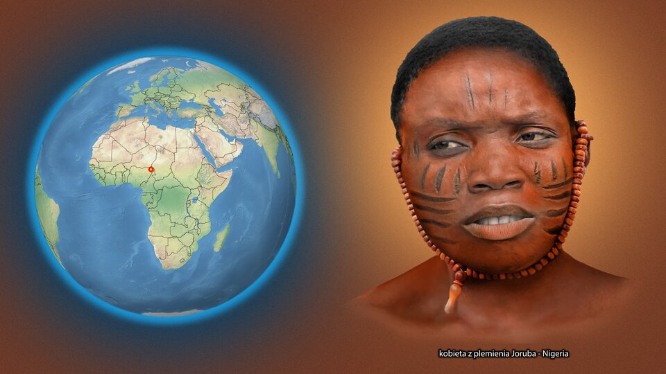 Na ilustracji kula ziemska zzaznaczonym czerwonym punktem - Nigeria. Obok twarz ciemnoskórej kobiety, na twarzy ciemne paski, na uszach koraliki , krótkie włosy. Podpis - kobieta zplemienia Yoruba. Nigeria.